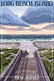 Long Beach Island, New Jersey - Beach Boardwalk Scene (9x12 Collectible Art Print, Wall Decor Travel Poster)