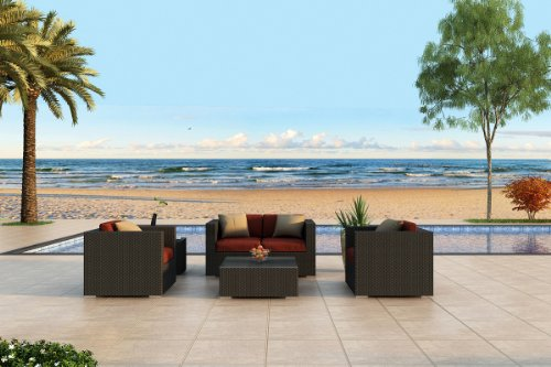 Urbana 4 Piece All-Weather Wicker Patio Sofa Set with Sunbrella Canvas Henna (5407-0000) Cushions