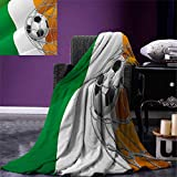 smallbeefly Irish Digital Printing Blanket Sports Theme Soccer Ball in a Net Game Goal Ireland National Flag Victory Win Summer Quilt Comforter 80''x60'' Multicolor