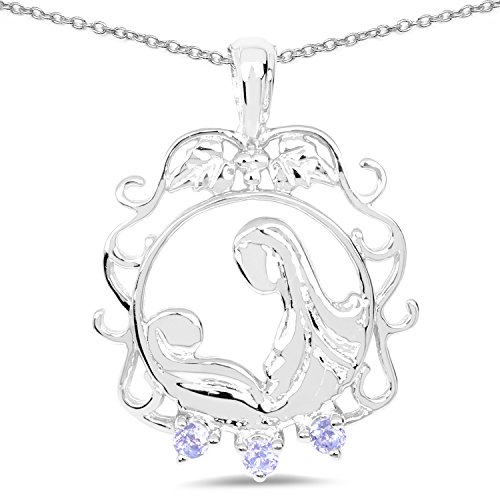 0.09 Carat Genuine Tanzanite Solid .925 Sterling Silver Mother and Child Pendant