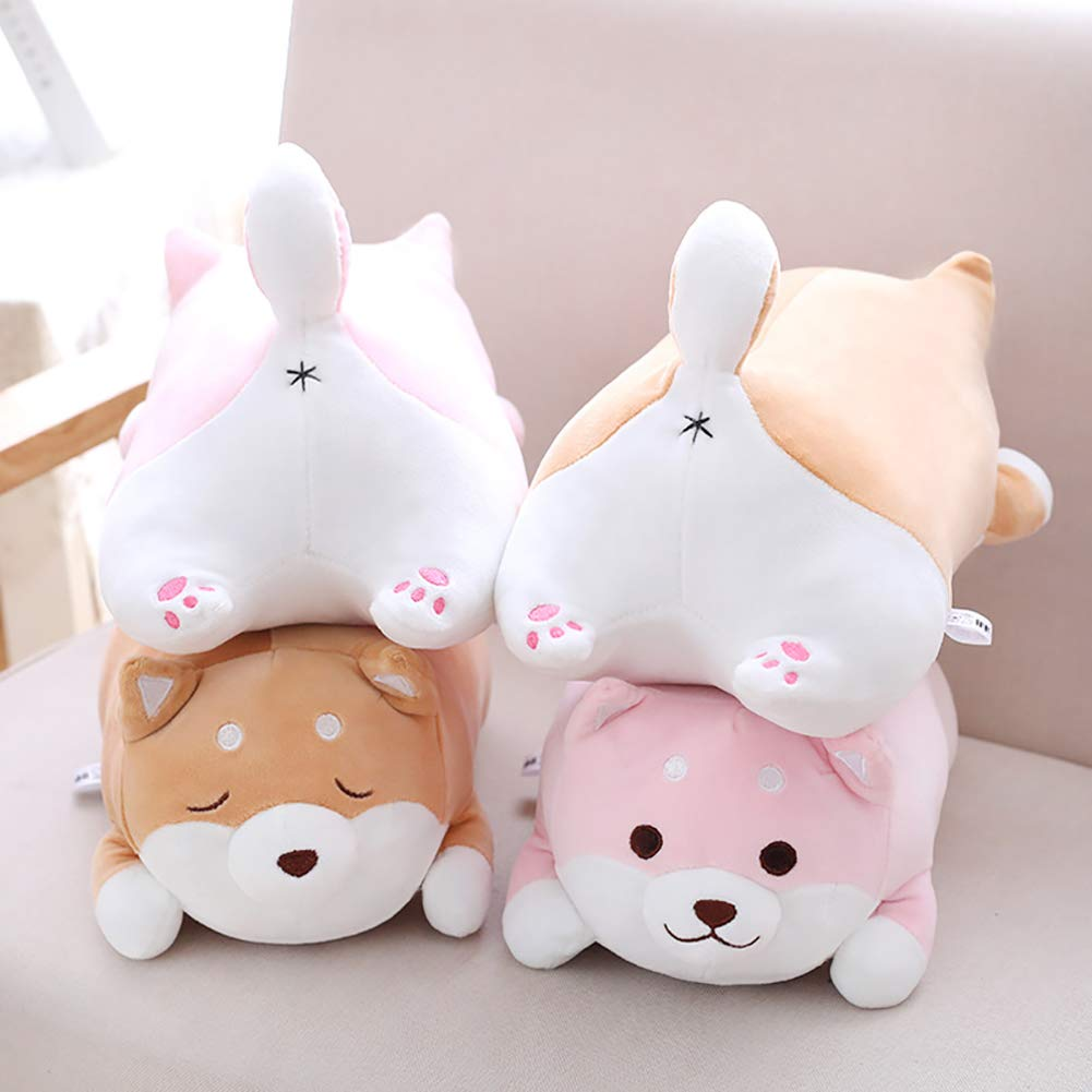 Sguan-wu Carino Morbido Corgi Dog Animal Throw Pillow Morbido Peluche Cuscino Divano Sedia Decor Pink 40cm-Round Eyes