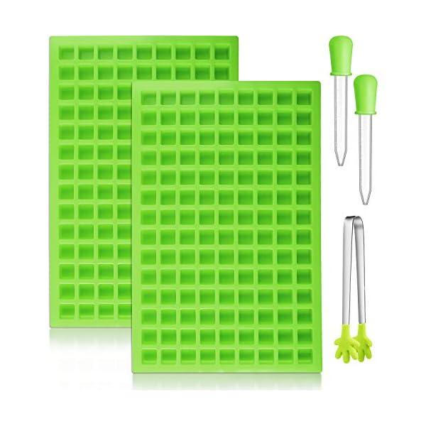 BBTO 2 Pezzi 126-Cavità Stampo Quadrato in Silicone Mini Stampi per Caramelle Vaschetta del Ghiaccio con Clip Contagocce… 1 spesavip