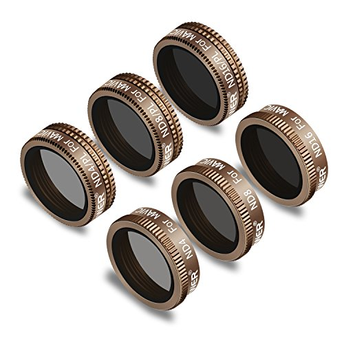 Neewer 6 Pieces Pro Lens Filter Kit for DJI Mavic Air Drone Quadcopter Includes: ND4, ND8, ND16, ND4/PL, ND8/PL, ND16/PL, Made of Multi Coated Waterproof Aluminum Alloy Frame Optical Glass(Gold)