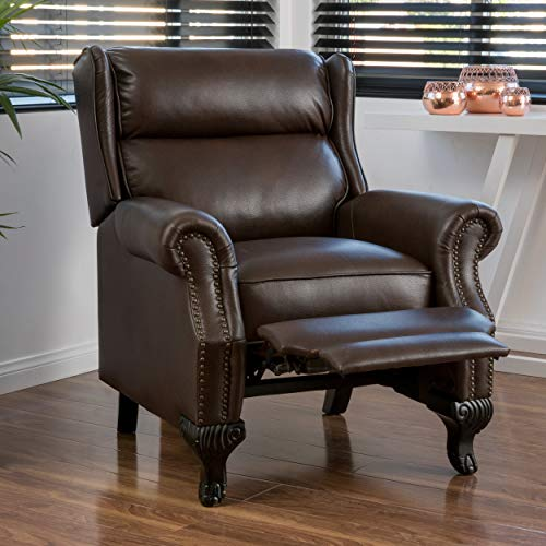 Christopher Knight Home 296600 Curtis Leather Recliner Club Chair Nail Head Accents, Dark Brown