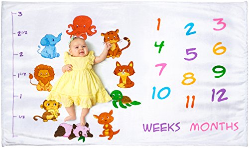 - Baby Monthly Milestone Blanket for Girl or Boy | Photography Backdrop for Newborn Infant's First Year Photo | Large Premium Baby Blanket | Extra Plush and Soft