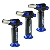 3 Pack Turbo Blue Magnum Jet Flame Refillable Torch Lighter - Powerful Windproof Flame