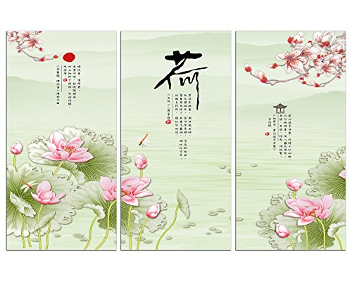 NAN Wind 3 Piece Chinese Style Painting Lotus Flowers Artwork Giclee Canvas Prints Paintings on Canvas Wall Art Ready to Hang for Living Room Bedroom Home Decorations - Art Flower Chinese Lotus