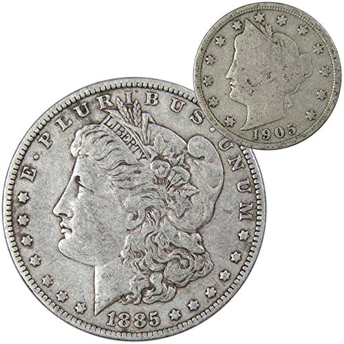 1885 O Morgan Silver Dollar VF-Very Fine with 1905 Liberty Head Nickel Good