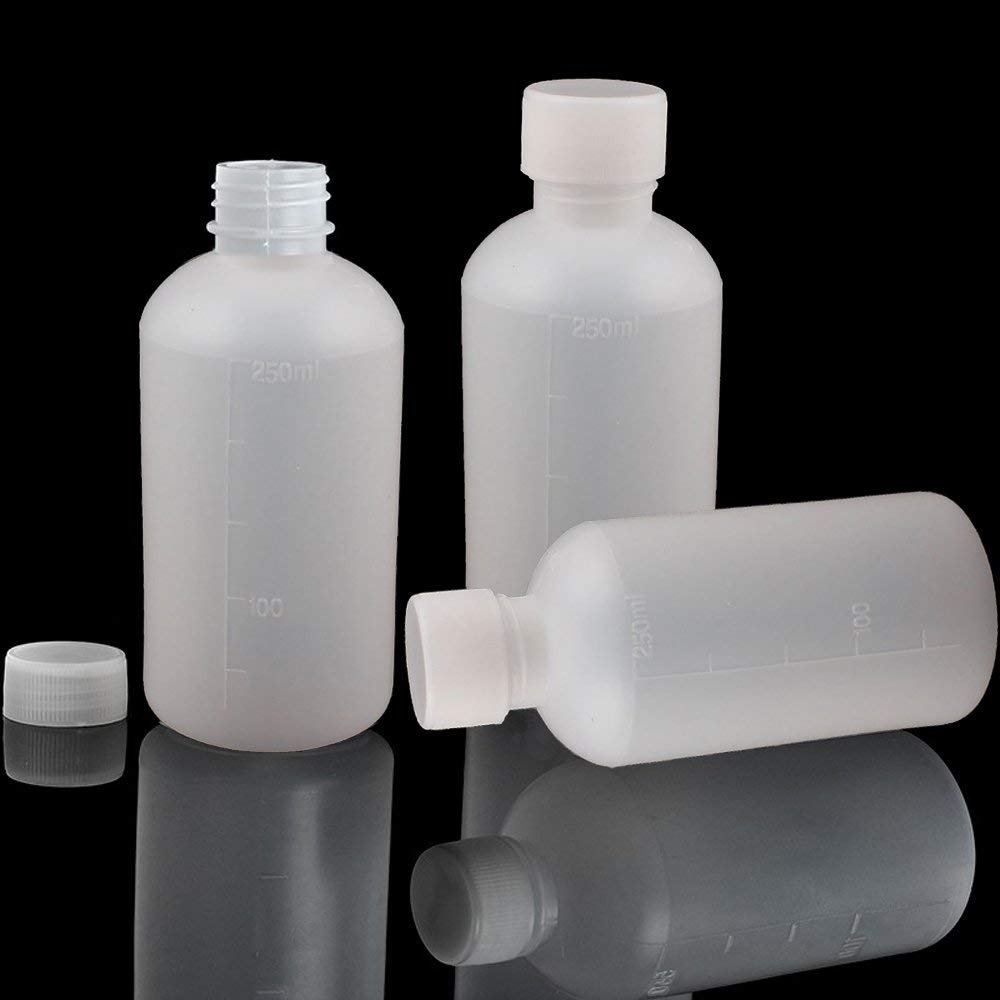 8Pcs 250ml PE Plastic Empty Small Mouth Graduated Lab Chemical Container Reagent Bottle Sample Sealing Liquid Medicine Bottle by GDGY (Image #4)