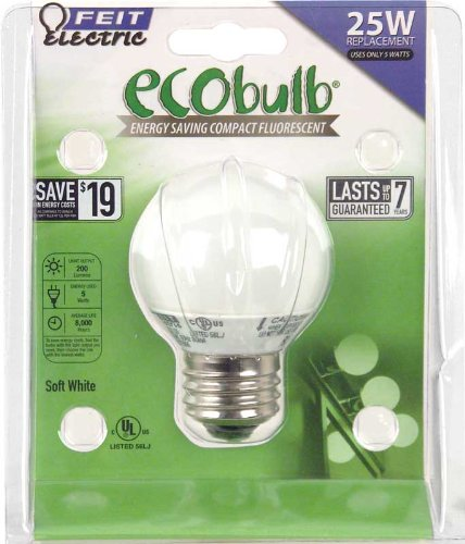 Feit ECOBulb 5W / 25W 120V Mini-Globe Soft White CFL E26 Medium Base BPESL5G