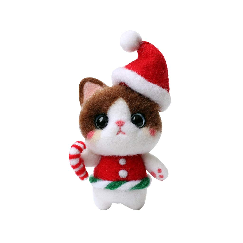 Prettyia Cartoon Cat Felt Craft Kit for Xmas Gifts DIY Needle Felting