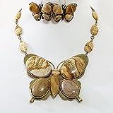 Claire Kern Creations Gemstone Jasper Big Butterfly Necklace Earrings Bracelet