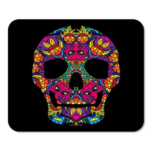 Suike Mousepad Computer Notepad Office Blue Black Psychedelic Mexican Skull 60S Colors Pink Bone Home School Game Player Computer Worker 9.5x7.9 Inch