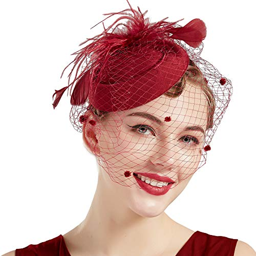 (BABEYOND Women's Fascinators Hat Hair Clip Pillbox Hat Tea Party Fascinator Hat with Veil Headband for Cocktail Wedding Hair Accessories (Wine Red))