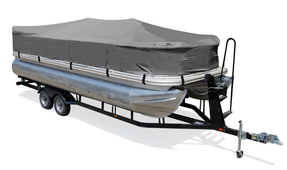 TaylorMade Products Trailerite Semi-Custom Boat Cover for Pontoon Boats 181 to 19 Center Line Length // 96 Beam, Gray Coated Poly