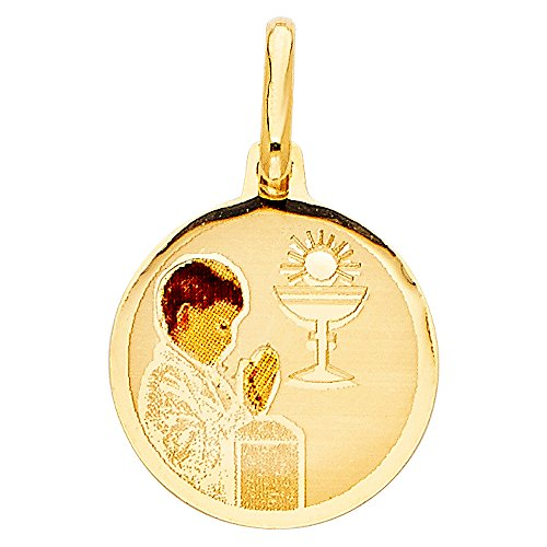 Million Charms 14k Yellow Gold Small/Mini First Communion Picture Medal Boy (17mm x ()