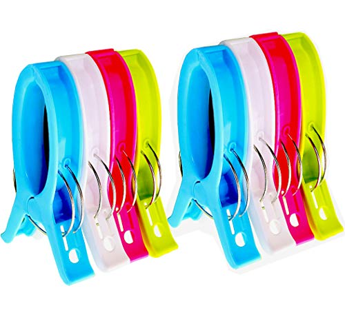 Jumbo Beach Towel Clips Chair Clips Towel Holder for Pool Chairs on Cruise - Plastic Clothes Pegs Quilt Hanging Clip Clamps