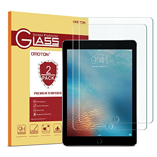 OMOTON 9H Hardness Tempered Glass Screen Protector Compatible iPad 9.7