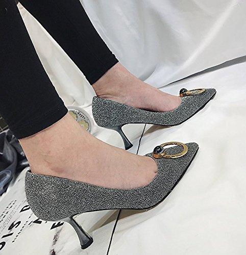 MDRW-Lady/Elegante/Trabajo/Ocio/Muelle Fine Con Zapatos De Tacones De 7Cm De Un Único Lugar De Trabajo Zapatos Zapatos Bridesmaid Señoras Silver Parte 36 36