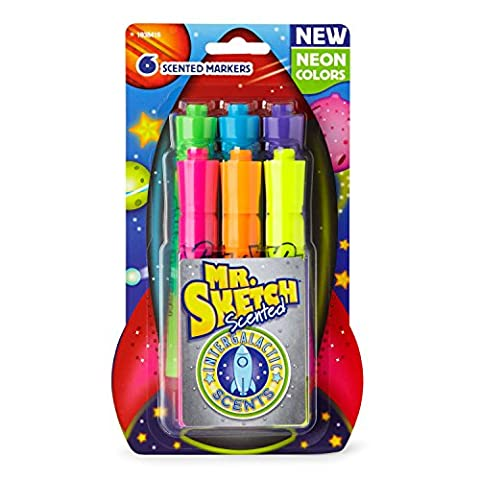 Mr. Sketch Scented Markers, Chisel Tip, Intergalactic Neon, 6-Count (Rockets Neon)