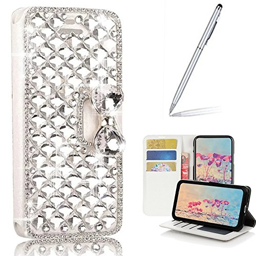 Yaheeda LG Aristo 2 Case,LG Tribute Dynasty Case with Stylus Ballpoint Pen, [Stand Feature] Butterfly Wallet Case [Bling Luxury] Leather Flip Cover [Card Slots] for LG Aristo 2 X 210/LV3/K8 2018 ()