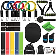 Exercise Resistance Bands Set 22pcs, Elastic Workout Bands with Handles, Gliding Discs Core Sliders, Cooling T