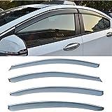 Christmas CUSTOM 4pcs Smoke Tint With Chrome Trim PVC Outside Mount Tape On Style PVC Sun Rain Guard Vent Shade Window Visors Fit 09-15 Chevy Cruze 16 Limited
