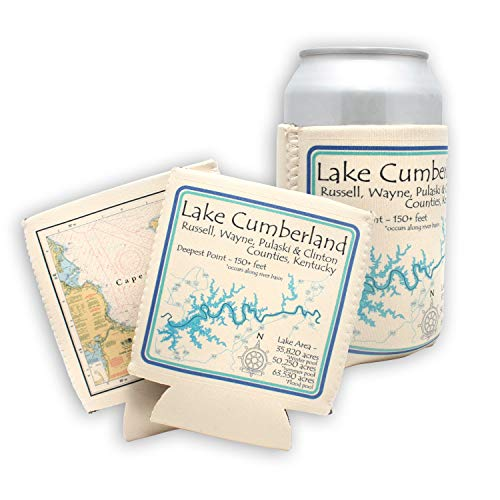 Marion Lake in MUSKOKA, CN (1827 LA) - Can Cooler Set of 6 - Nautical chart  and topographic depth map