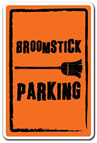 Broomstick Parking Halloween Funny Parking Wall Sign Decorative Safety Sign Gift Metal Aluminum (Halloween Safety Funny)