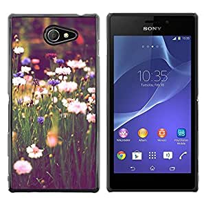 """Pulsar Snap-on Series Teléfono Carcasa Funda Case Caso para Sony Xperia M2 , El campo Margaritas verde Blooming Vignette"""""""