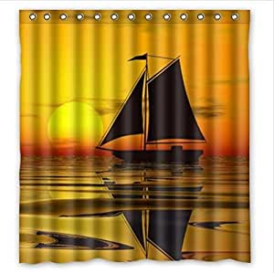 Beautiful Scenery:Sailing Boat In The Sunset,Sailing Boat Custom 100% Polyester Waterproof Shower Curtain 66 x 72