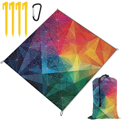 Hello Geometric Color Beach Blanket Sand Proof and Waterproof Pocket Sized Picnic Mat Outdoor Beach Mat for Camping, Travel, Hiking, Festival, Sports, Picnics, Parks, Beach Trips and Your Own Backyar (Dora Travel Potty Seat)