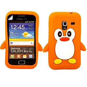 Penguin Silicone Shell Case Cover And Screen Guard For Samsung Galaxy Ace Plus S7500 / Orange
