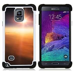 Dragon Case- Dise?¡Ào de doble capa pata de cabra Tuff Impacto Armor h??brido de goma suave de silicona cubierta d FOR Samsung Galaxy Note 4 SM-N910 N910- CLOUDS FLYING SUN EARTH ABOVE HIGH SKY