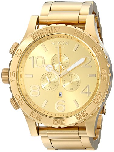 Nixon 51-30 Chrono A083897-00. All Gold Men's Watch (51mm. Gold Watch Face/ 25mm Gold Stainless Steel Band) (Single Chrono Watch)