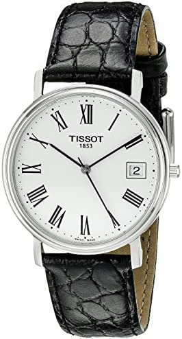 Tissot Men s T52142113 T-Classic Desire Stainless Steel Watch With Black Leather Band