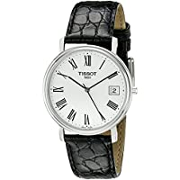Men's T52142113 T-Classic Desire Stainless Steel Watch With Black Leather Band