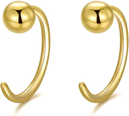 Cartilage Earring 14k Gold Crescent Moon Earring Tiny Hoop Stud Earring MInimalist Jewelry