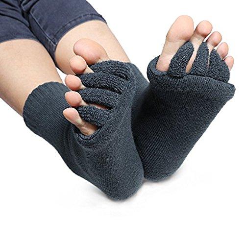 Grau Zehenspreizer Wellness Socken Zehentrenner Pediküre Fuß Massage Socken Gr. 34 bis 43