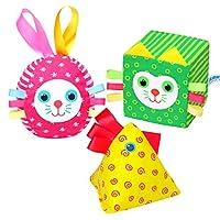 Myakish Happy Didactics Set. Soft Rattle Baby Blocks. Soft Cubes of 100% Organic Cotton. Russian Toys