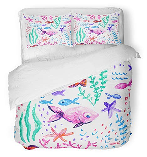 Emvency 3 Piece Duvet Cover Set Breathable Brushed Microfiber Fabric Crayon Childlike Marin Underwater Sea Ocean Life Childish Drawing Cute Whale Fishes Bedding with 2 Pillow Covers Full/Queen Size