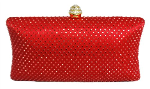 Chicastic Deep Red Rhinestone Crystal Hard Box Wedding Cocktail Evening Clutch Bag, Bags Central