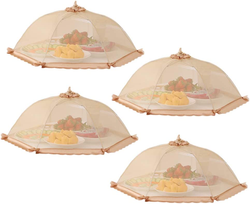 AWYGHJ 4 Pack 17 x 17 in Mesh Food Cover Tent Umbrella, Pop Up Screen Net and Plate Protector; Shields Food Plates and Glasses from Flies, Bugs, for Picnics, BBQ, Camping