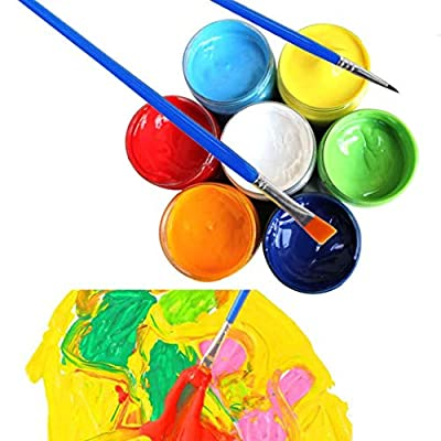 sakd Washable Finger Paints for Kids Toddlers Neon Colour Paints Children's Finger Tempera Painting Glue Brushes Set 20ML -Art Class, Parties, Home DIY (6 PC): Arts, Crafts & Sewing