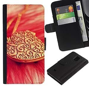 Paccase / Billetera de Cuero Caso del tirón Titular de la tarjeta Carcasa Funda para - Love Gold Necklace Heart - Samsung Galaxy S5 Mini, SM-G800, NOT S5 REGULAR!