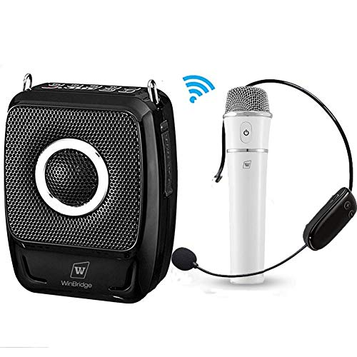 (Wireless Voice Amplifier with Two Mics, 25W 4000mAh Rechargeable Portable Microphone and Speaker Bluetooth Mini Pa System Support Singing and Amplification Device for Teachers, Meeting, Presentations)