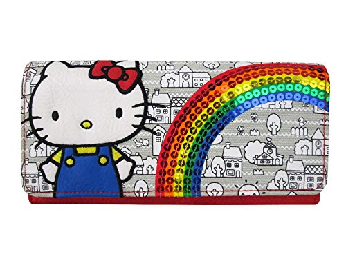 Loungefly x Hello Kitty Limited Edition 40th Anniversary Rainbow Sequins Wallet (Multicolored, One Size)