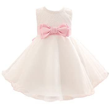 c3e9b693d Amazon.com : Mini Kitty Baby Girls Dresses Bow Lace Formal Dress, White,  7-12 Months : Baby
