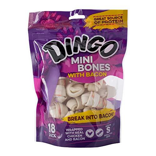 Dingo Mini Bones - Dingo Mini Bones With Bacon, 18 Pack, Snack For Small Dogs