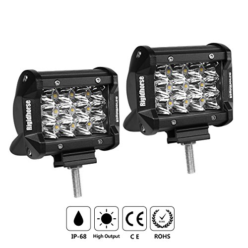 LED Light Pods, Rigidhorse Triple Row 2 Pcs 4 Inch 50W Light